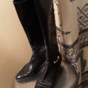 Salvatore Ferragamo Black Leather Tall Boots.